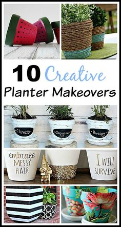 10 Creative Planter Makeovers 10 Creative DIY Planter Makeovers spruce up your old plain pots with these great ideas! DIY home decor projects easy crafts gardening projects The post 10 Creative Planter Makeovers appeared first on Garden Easy. Plastic Planters, Plastic Flower Pots, Diy Planters, Reuse Plastic Containers, Planter Ideas, Diy Home Decor Projects, Outdoor Projects, Garden Projects, Garden Tips