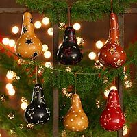 Mate gourd ornaments, 'Andean Baubles' (set of 6), $34.95