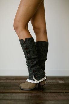 Charcoal Knitted Button Down Leg Warmer