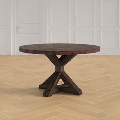 Ivan Solid Wood Dining Table & Reviews | Joss & Main Solid Wood Dining Table, Round Dining Table, Breakfast Table Round, Table Height, Wood Rounds, Dark Wood, Table And Chairs, Furniture, Kitchen Decorations