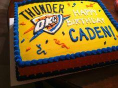 OKC Thunder birthday cake  www.facebook.com/lacyescakeryandcookies