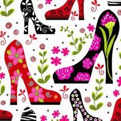 M2906 Tecido p/ Patchwork Diva Tippy Toes shoes - R23A - A partir de: