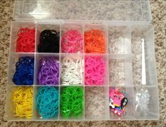 Kailey absolutely loves this. rubber band bracelet making case, bands, clips, hooks and charms