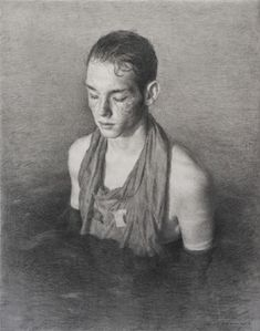 """La Mer"" by Julio Reyes. Graphite on paper, inches by inches. (The Florence Academy of Art–U. Artist Painting, Painting & Drawing, Figure Drawing, Florence Academy Of Art, La Art, Southwest Art, Portraits, Elements Of Art, Magazine Art"