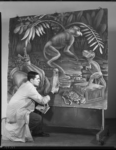 © The Field Museum, GN79197. Artist Paul Banks with his vivid pastel chalk painting called Arrangement of Animal Symbols. He is a first year student at Art Institute. Miss Ethel Spears is his instructor teacher.8x10 negative4/16/1956