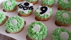 Football themed grass cupcakes