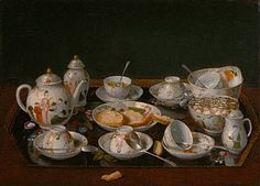 Jean-Etienne Liotard, Still Life: Tea Set, about 1781-1783. At home at the Getty Museum.