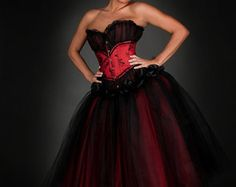 Private listing for Rachele Custom Size red and black lace tea length burlesque corset Prom dress Full Length