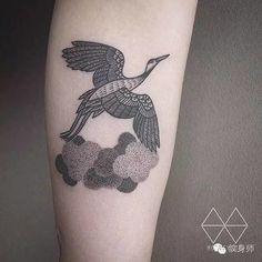Dotwork Love Crane Tattoo On Leg