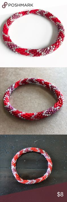 Lily & Laura Roll On Nepal Bracelets in Red Silver Lily & Laura Roll On Nepal Bracelet Glass Beads in Red and Silver. These bracelets are a fair trade product made by women in Nepal to help sustain their families. They fit virtually every wrist simply by rolling on. Because of how they are crocheted they expand & retract by rolling, & will not break unless cut. As each are handmade, they may vary slightly in size. Each one is unique. They are stack-able & mix-and-matchable. Please check out…