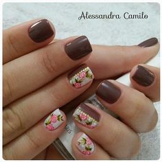 #unhasdehoje #unhastop #unhas #unhasdecoradas #unhasdasemana #unhaslindas #esmaltece #esmalte Cute Nails, Pretty Nails, My Nails, Pedicure, Acrylic Nails, Nail Designs, Hair Beauty, Nail Art, Makeup