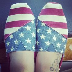 Adorable patriotic shoes. BOBS by Sketchers, which are almost identical to Toms.