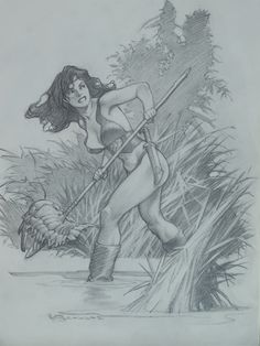 Mark Schultz - Hannah wading Comic Art