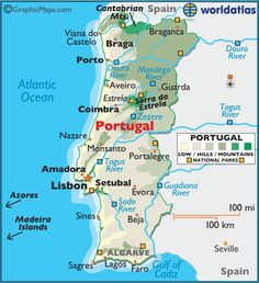 Portugal Map / Geography of Portugal / Map of Portugal Portugal Facts, Spain And Portugal, Portugal Travel, Portugal Trip, Belem Portugal, Portugal Location, Location Map, Where Is Mauritius, Funchal