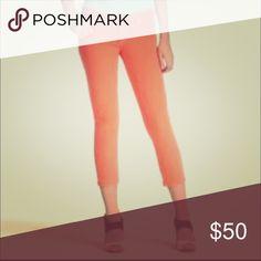 Kate Spade Play Hooky Capris Adorable! Never worn! Super flattering orange denim capris! kate spade Pants Capris