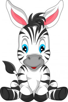 Discover thousands of Premium vectors available in AI and EPS formats Zebra Cartoon, Baby Cartoon, Cartoon Kids, Cute Cartoon, Cartoon Elephant, Art Drawings For Kids, Animal Drawings, Cute Drawings, Drawing Faces