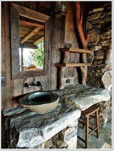 badezimmer ideen wanne waschbecken natur kette | rustikales bad, Hause ideen