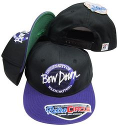 Washington Huskies Bow Down Circle Snapback Adjustable Snap Back Hat / Cap by The Game. $9.99. Adjustable plastic snapback cap. Embroidered Logos. Officially Licensed.. One Size Fits All. Cheer on your favorite team in style while wearing the officially licensed vintage snapback cap!