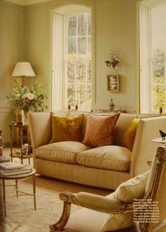 Love the wall color, pillows, rug