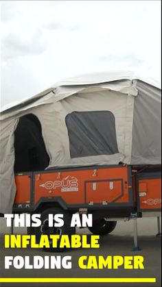 This portable trailer camper comes with a built-in tent. The inflatable folding camper is called 'Air Opus Camper'. Diy Camping, Camping Humor, Truck Camping, Camping Glamping, Camping Hacks, Camping Gear, Cool Camping Gadgets, Camping Trailer Diy, Airstream Camping