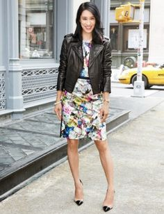 Lady-like floral dress made edgy with that gorgeous leather moto jacket and classic cap-toe pumps. Lovely!