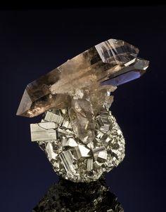 Smoky Quartz on Pyrite
