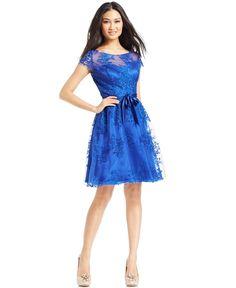 Marina Cap-Sleeve Lace Cocktail Dress - Dresses - Women - Macy's