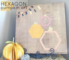 Hexagon Pumpkin Art on www.girllovesglam.com #decor #tutorial