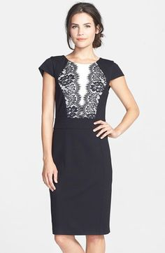 Laundry by Shelli Segal Lace Detail Colorblock Ponte Sheath Dress available at #Nordstrom