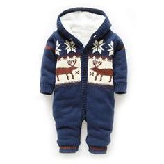 !Baby Winter Thick Reindeer Onsie - Blue / 13-18 months