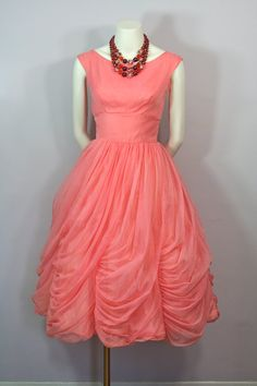 Why doesn't anyone make stuff like this?! Vtg 1950s  1960s Peachy PINK PinUp Draped Bubble by LoulousVintage, $145.00