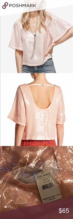 Free People Sequined Pink Pearl Top Blouse Sz m Brand new with tags. Free People Tops Blouses