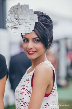 My amazing model Breanna with woven leather design award hats for the melbourne cup