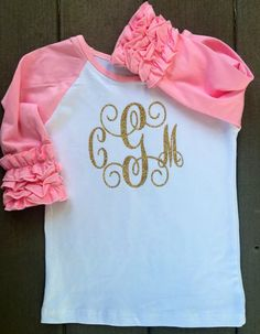 Ruffle Raglan Little Girl's with Embroidery or Vinyl - Name or Monogrammed…