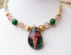 Girls Hemp Necklace with Glass Mushroom by sherrishempdesigns, $23.00