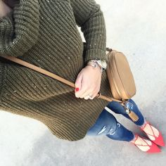 With Style & Grace: olive sweater and red lace up flats outfit
