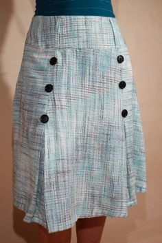 Womens Blue Skirt with Black Buttons