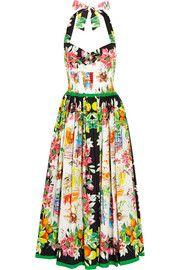 Dolce & GabbanaPortofino printed cotton-poplin dress