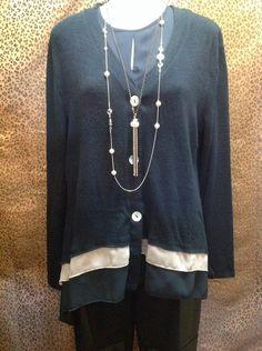 Avalin - Navy v-neck sweater with chiffon trim along hemline - $63