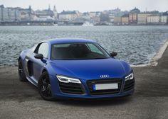 Matte blue Audi R8 V10.
