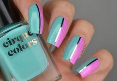 Summer Holographic Taping Nail Art