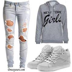 hoodies n ripped jeans..