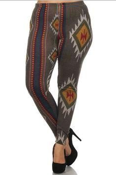 8b65ccc02338 Aztec Tribal Trendy Boho Plus Size High Waist Sweater Leggings
