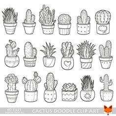 Succulent Cactus Potter Garden Decor Home Plant Doodle Icons