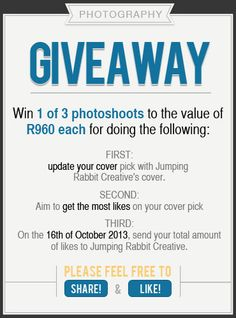 #WIN one of 3 #free #photoshoots with @jumping_rc on facebook - see page for more info: https://www.facebook.com/jumpingrabbitcreative