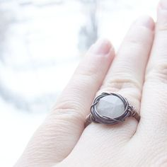moon stone ring  bohemian rustic wire wrapped copper by KicaBijoux, $17.00