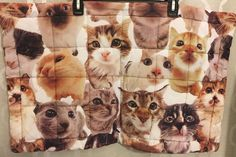 Cat Faces Thin Quilted Mat Animal Rug Kitty Cats Felines Cat Lady Animal Lover