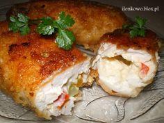 Uwielbiam gotować: Roladki drobiowe z serem, papryką i korniszonem
