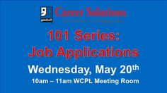 Are you a current job seeker? Come to do this workshop to learn more about the free services and paid trainings offered by Goodwill Career Solutions. You will also receive information on current trends for completing job applications: the first step in the job search process. Shannon Duke, Career Counselor will serve as facilitator. Light refreshments will be served. Join us in the library meeting room for this free workshop.