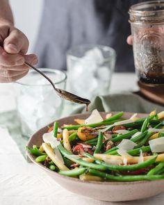 Bean Salad with Bacon & Tomato Salad Ideas, Bean Salad, Summer Ideas, Asparagus, Side Dishes, Bacon, Beans, Healthy Eating, Vegetables